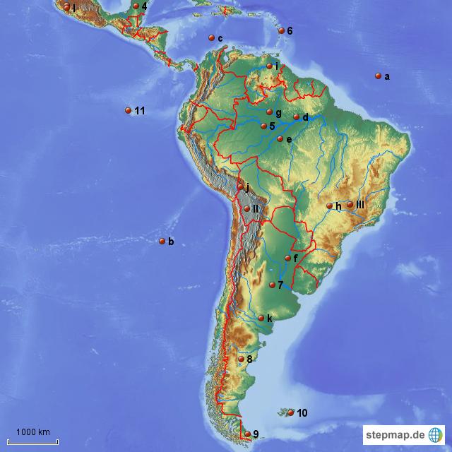 Physische Karte Lateinamerika.Stepmap Lateinamerika Physisch Landkarte Fur Sudamerika