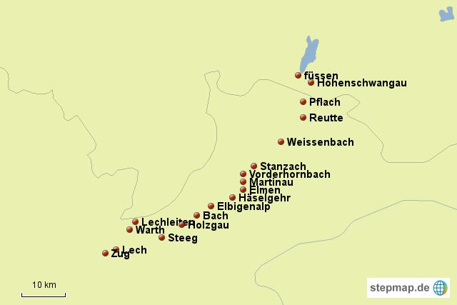Lechweg Karte.Stepmap Lechweg Landkarte Für Deutschland