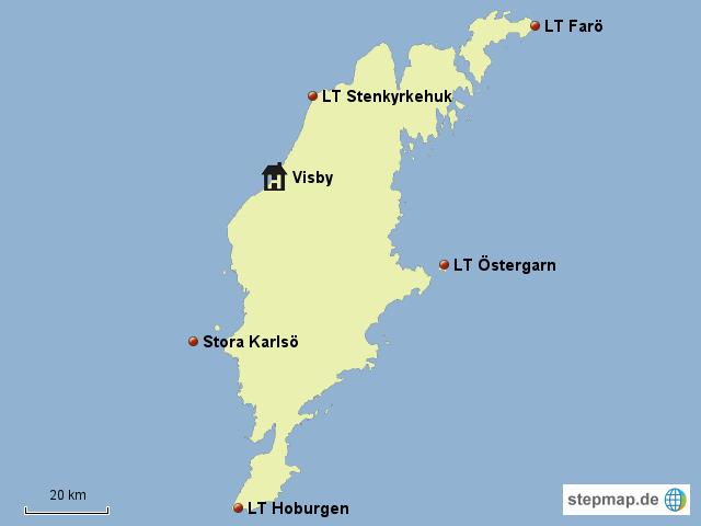 gotland karte StepMap   Leuchttürme Südschwedens   Gotland   Landkarte für Schweden