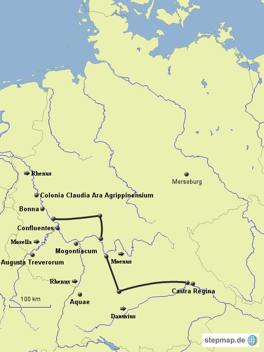 limes deutschland karte StepMap   Limes und römische Städte im heutigen Deutschland  limes deutschland karte