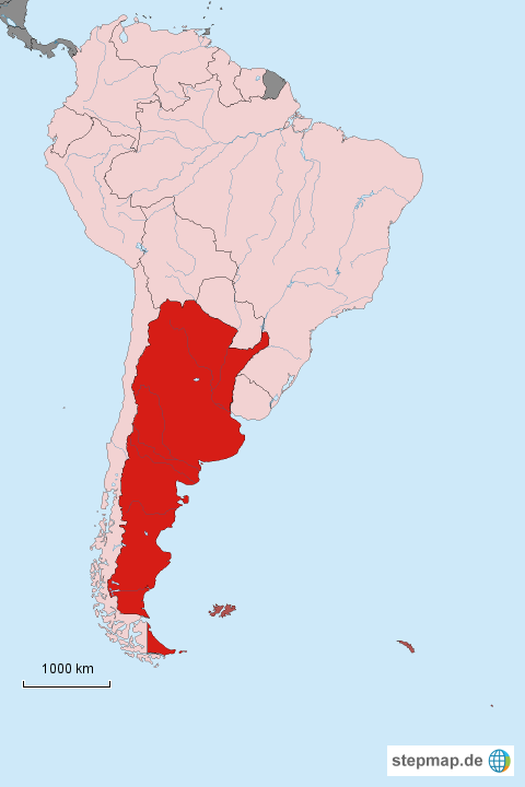 StepMap - Locator map Argentina in South America - Landkarte ...