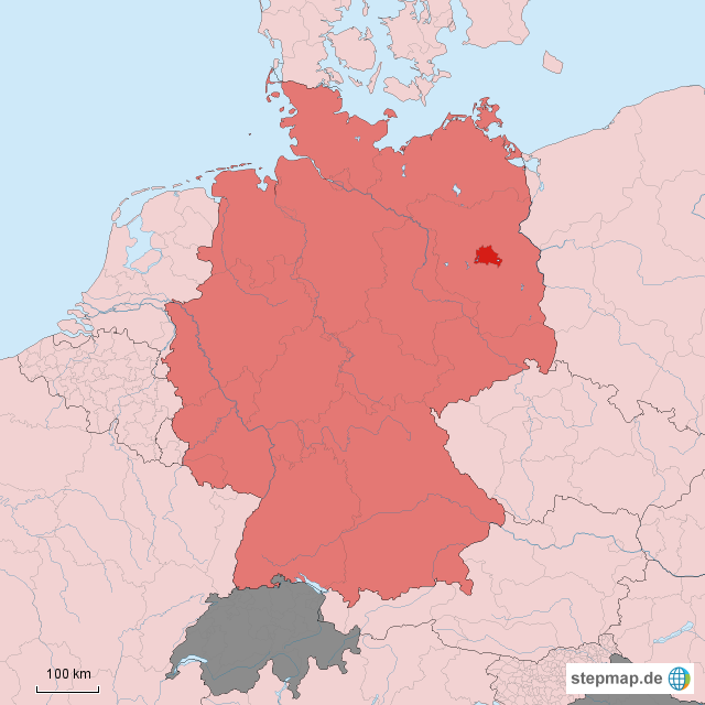 StepMap - Locator map Berlin in Germany - Landkarte für Deutschland