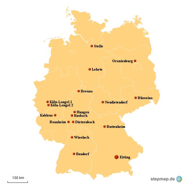 Rewe Karte.Stepmap Logistik Standorte Rewe Logistik Landkarte Für Deutschland
