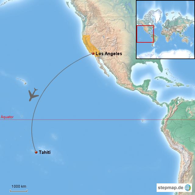StepMap - Los Angeles - Tahiti - Landkarte für Nordamerika