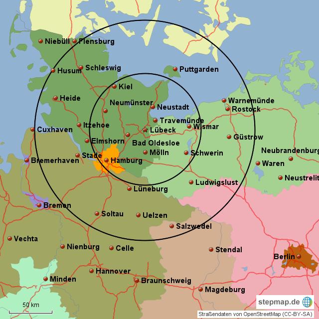 Karte Lübeck.Stepmap Lübeck Radius Landkarte Für Deutschland