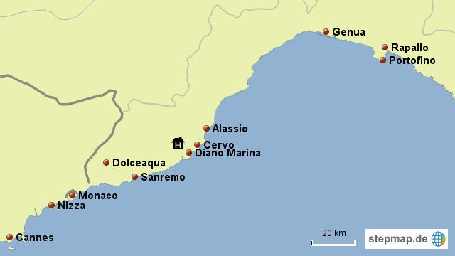 Monaco Italien Karte.Stepmap Lugurien Monaco Cote D Azur Landkarte Fur Italien