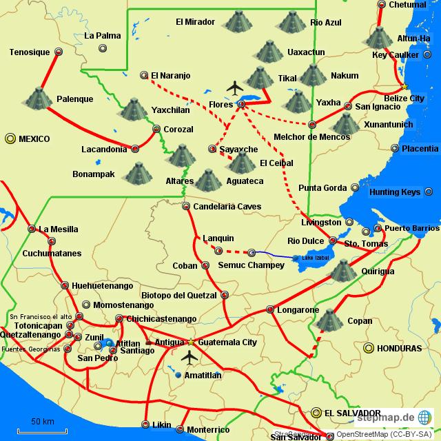 StepMap - MAP OF GUATEMALA BY TOURISM REGIONS - Landkarte ...
