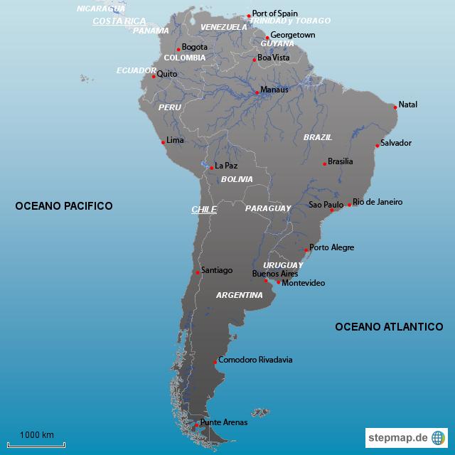 StepMap - MAPA SURAMERICA - Landkarte für Südamerika