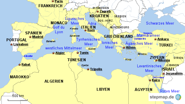 mittelmeerraum karte StepMap   MIttelmeerraum   Landkarte für Europa