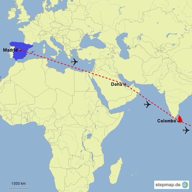 doha weltkarte StepMap   Madrid Doha Colombo   Landkarte für Welt doha weltkarte