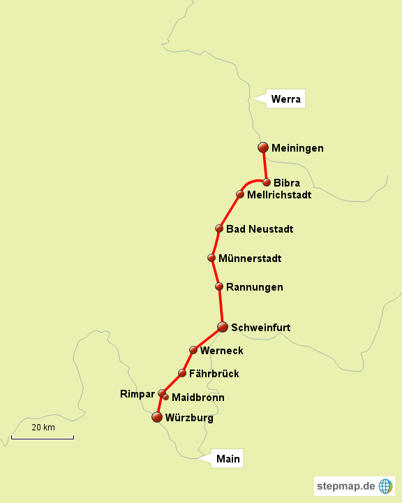 Werratal Radweg Karte.Stepmap Main Werra Radweg Landkarte Für Deutschland