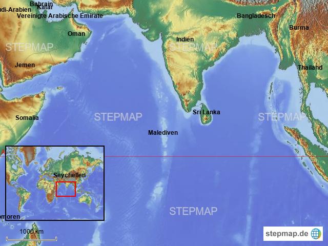 Seychellen Malediven Karte.Stepmap Malediven Lage Landkarte Für Asien
