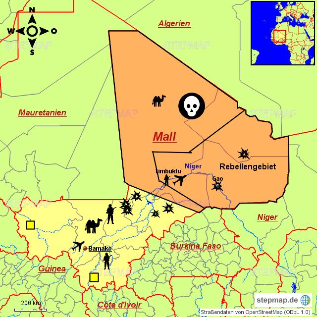 mali karte StepMap   Mali Karte   Landkarte für Mali mali karte