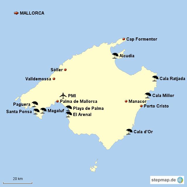 Mallorca Karte Paguera.Stepmap Mallorca Landkarte Für Spanien