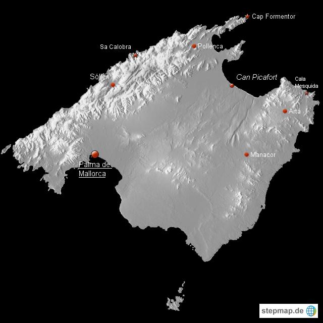 Spanien Karte Schwarz Weiß.Stepmap Mallorca Landkarte Für Spanien