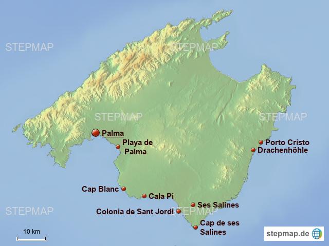 Stepmap Mallorca Osten Sudosten Relief Landkarte Fur Spanien