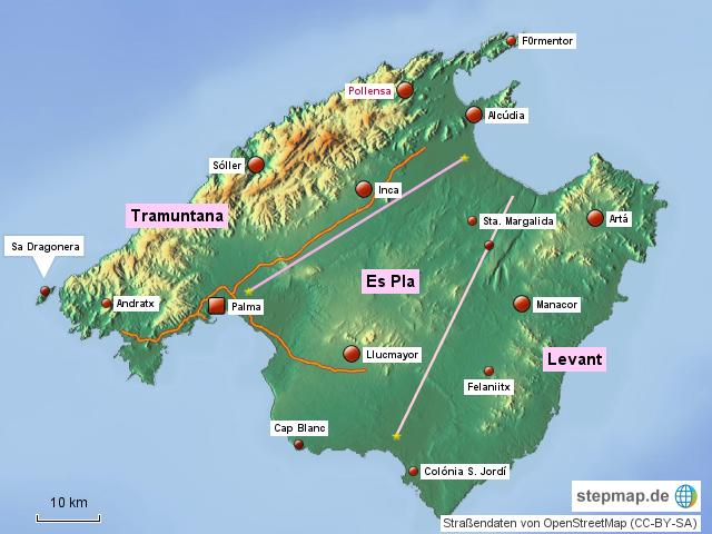 Stepmap Mallorca Regionen Landkarte Fur Spanien