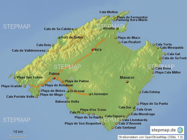 Mallorca Karte Strände.Stepmap Mallorca Straende Landkarte Für Spanien