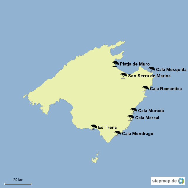 Mallorca Karte Strände.Stepmap Mallorca Strände Landkarte Für Spanien