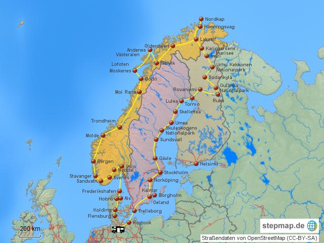 Stepmap Map Skandinavien Landkarte Für Europa