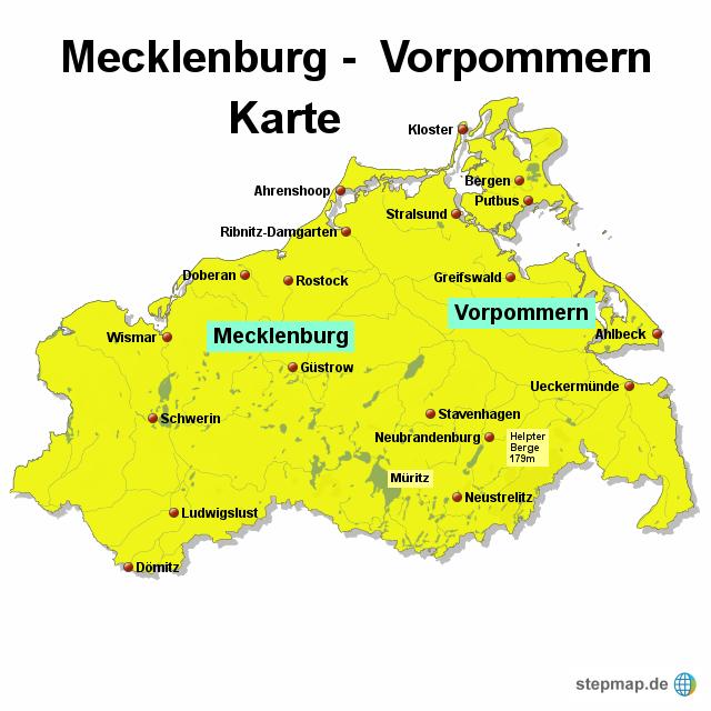 mecklenburg vorpommern karte StepMap   Mecklenburg Vorpommern Karte   Landkarte für Deutschland