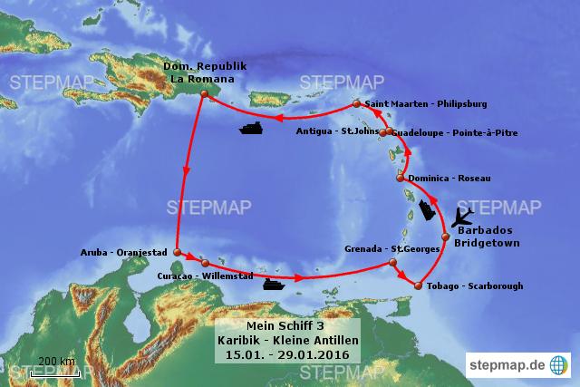 Aruba Karte Karibik.Stepmap Mein Schiff 3 Karibik Kleine Antillen Landkarte Für Welt
