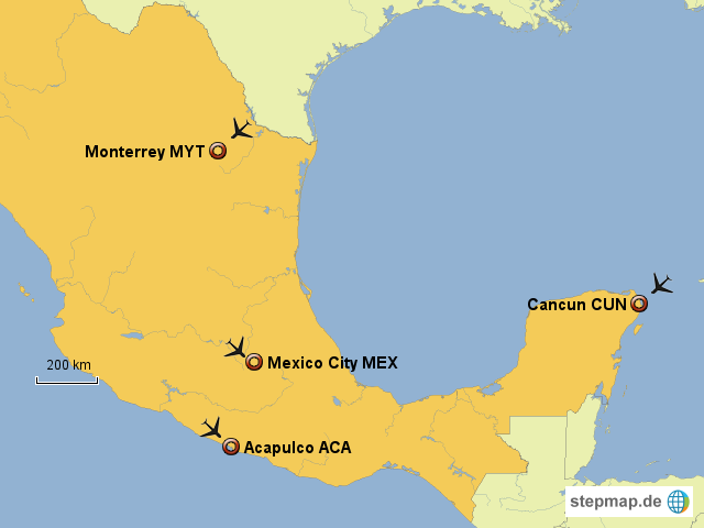 Mexiko Karte Welt.Stepmap Mexiko Flughafen Landkarte Fur Welt