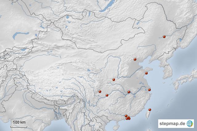 millionenstädte china karte StepMap   Millionenstädte Chinas   Landkarte für China