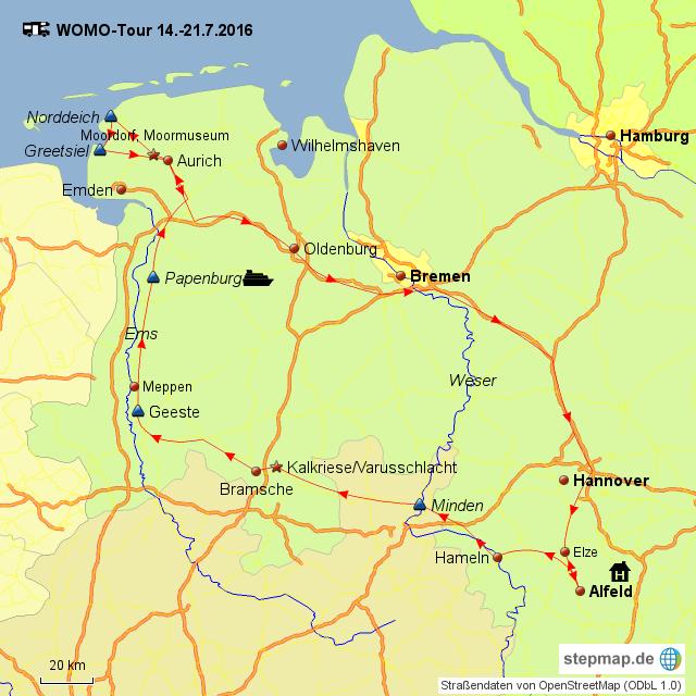 Varusschlacht Karte.Stepmap Minden Kalkriese Papenburg Norddeich Greetsiel