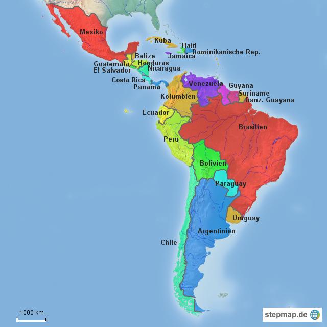 Südamerika Karte Länder.Stepmap Mittel Und Lateinamerika
