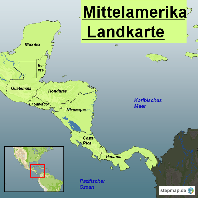 Mittelamerika Karte Staaten.Stepmap Mittelamerika Landkarte Landkarte Für Südamerika