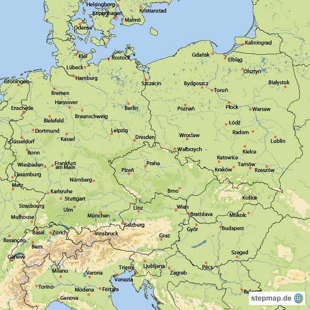 karte mitteleuropa StepMap   Mitteleuropa   Landkarte für Europa