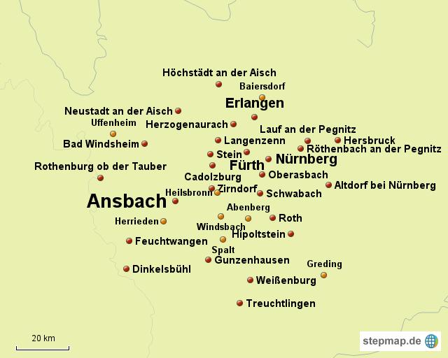 Mittelfranken Karte.Stepmap Mittelfranken Landkarte Fur Deutschland