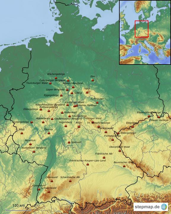 Mittelgebirge Deutschland Karte.Stepmap Mittelgebirge Deutschlands Landkarte Für Deutschland