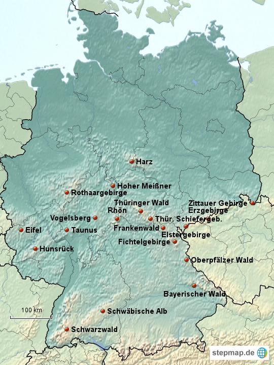 mittelgebirge karte StepMap   Mittelgebirge in Deutschland   Landkarte für Deutschland