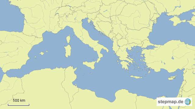 landkarte mittelmeer StepMap   Mittelmeer Karte   Landkarte für Deutschland landkarte mittelmeer