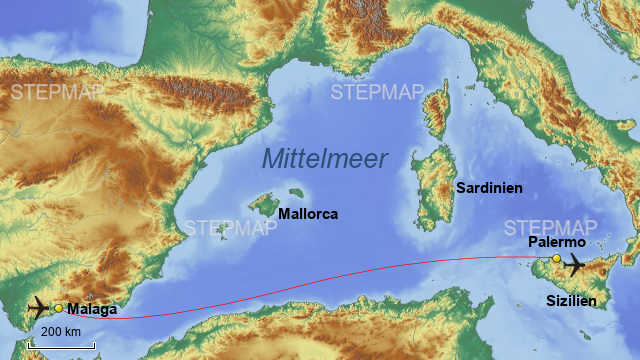 Malaga Karte Spanien.Stepmap Mittelmeer Malaga Palermo Landkarte Fur Spanien