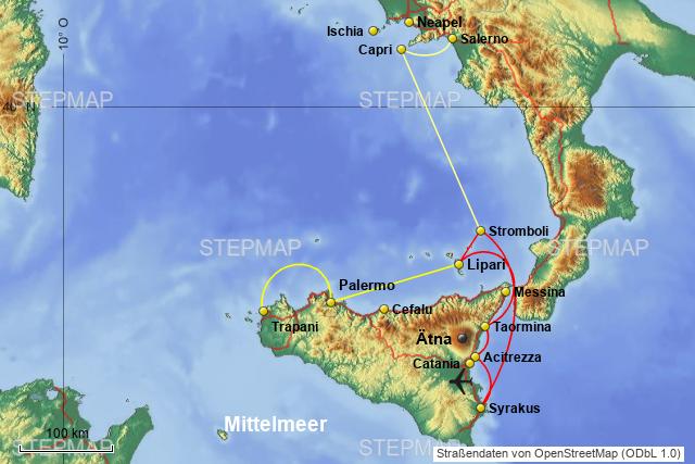 Mittelmeer Karte Inseln.Stepmap Mittelmeer Sizilien Liparische Inseln Salerno