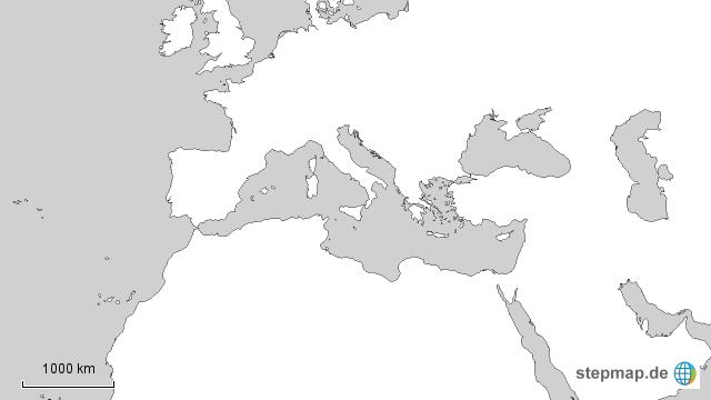 Mittelmeer Karte Europa.Stepmap Mittelmeer Stumme Karte Weiss Landkarte Fur Europa