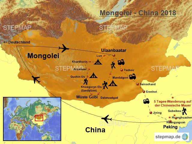 Chinesische Mauer Karte.Stepmap Mongolei China Landkarte Für Asien