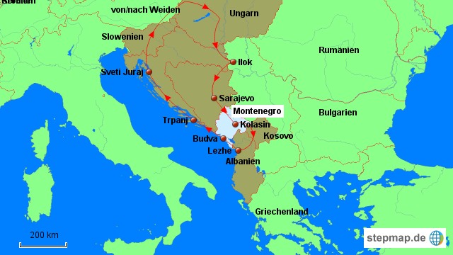 montenegro landkarte StepMap   Montenegro   Landkarte für Deutschland montenegro landkarte