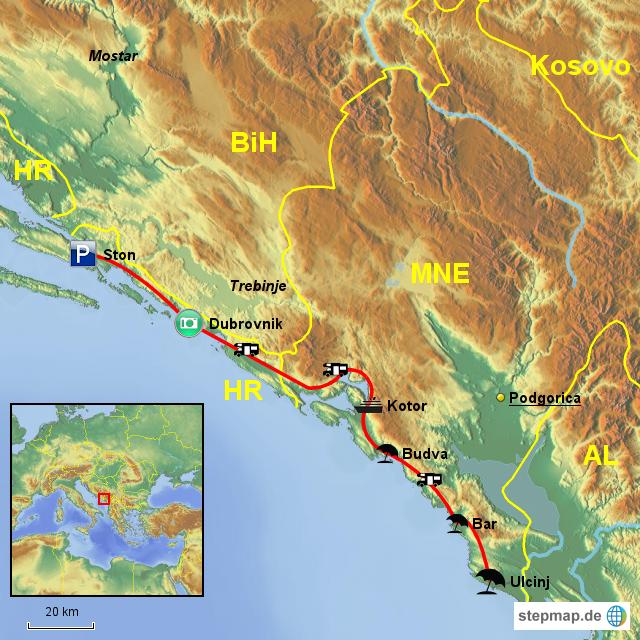 Karte Montenegro Kroatien.Stepmap Montenegro Nach Kroatien Landkarte Fur Montenegro