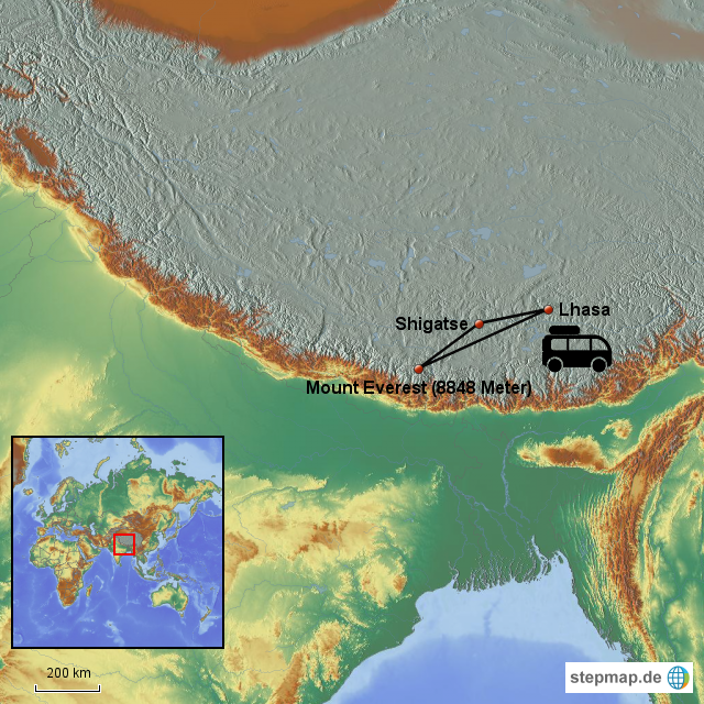 StepMap - Mount Everest - Lhasa - Landkarte für Deutschland