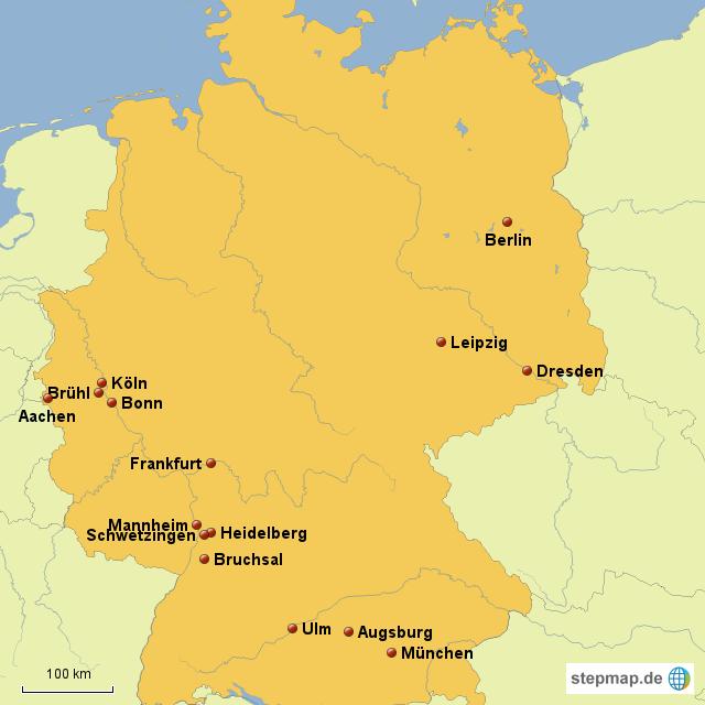 stepmap mozarts reise durch deutschland landkarte f r deutschland. Black Bedroom Furniture Sets. Home Design Ideas