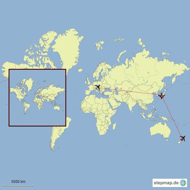 StepMap - München-Tokyo-Auckland - Landkarte für Welt