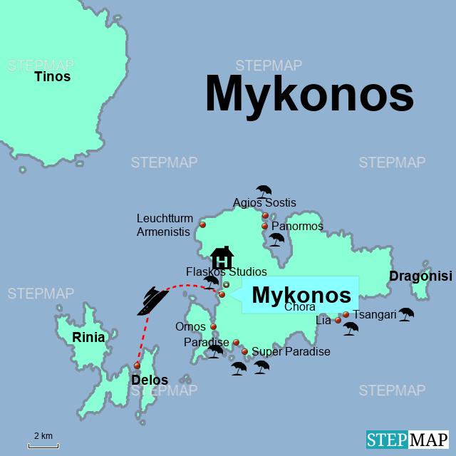 Karte Griechenland Mykonos.Stepmap Mykonos Landkarte Für Griechenland