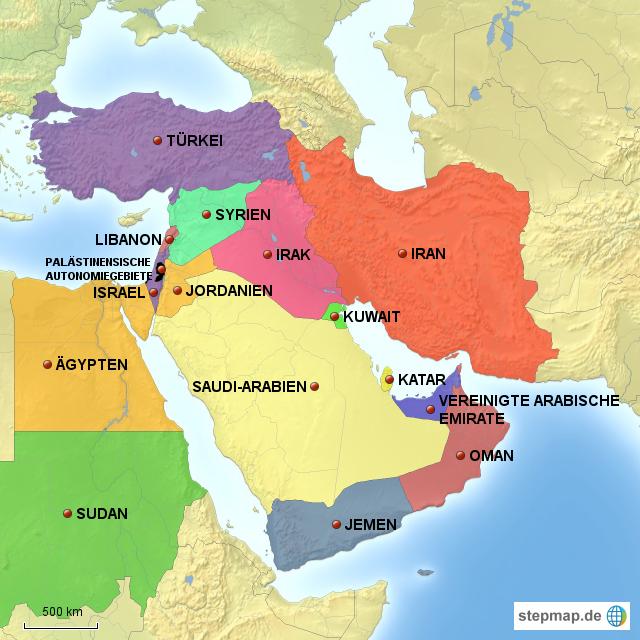 Karte Naher Osten Israel.Stepmap Naher Osten Landkarte Fur Asien