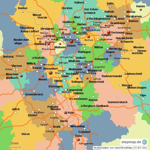 ruhrpott karte StepMap   NRW Ruhrpott   Landkarte für Deutschland