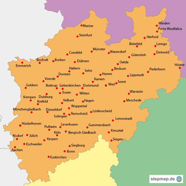 landkarte nrw StepMap   NRW mit Städten   Landkarte für Deutschland landkarte nrw