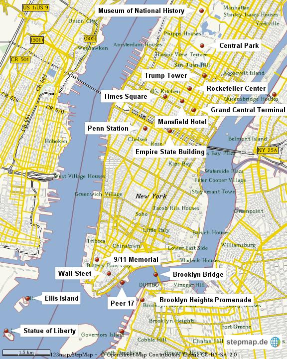 stepmap nyc sehensw rdigkeiten landkarte f r deutschland. Black Bedroom Furniture Sets. Home Design Ideas